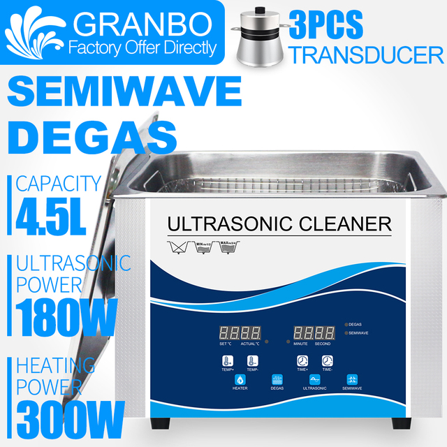 Granbo 4L 4.5L 180W Digital Ultrasonic Cleaner กับ DEGAS SEMIWAVE ความร้อนทำความสะอาด Medical and Dental Clinic ฮาร์ดแวร์