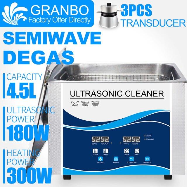 Granbo 4L 4.5L 180W Dijital Ultrasonik Temizleyici DEGAS SEMIWAVE Isıtma Temizleme Tıbbi ve Diş Kliniği Donanım