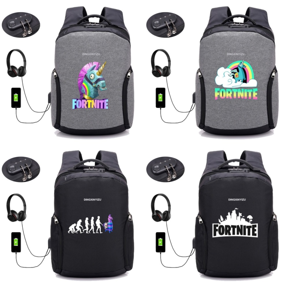 Game Fortnite Battle Royale backpack Multifunction USB Charging Laptop Backpack Bag Anti ...