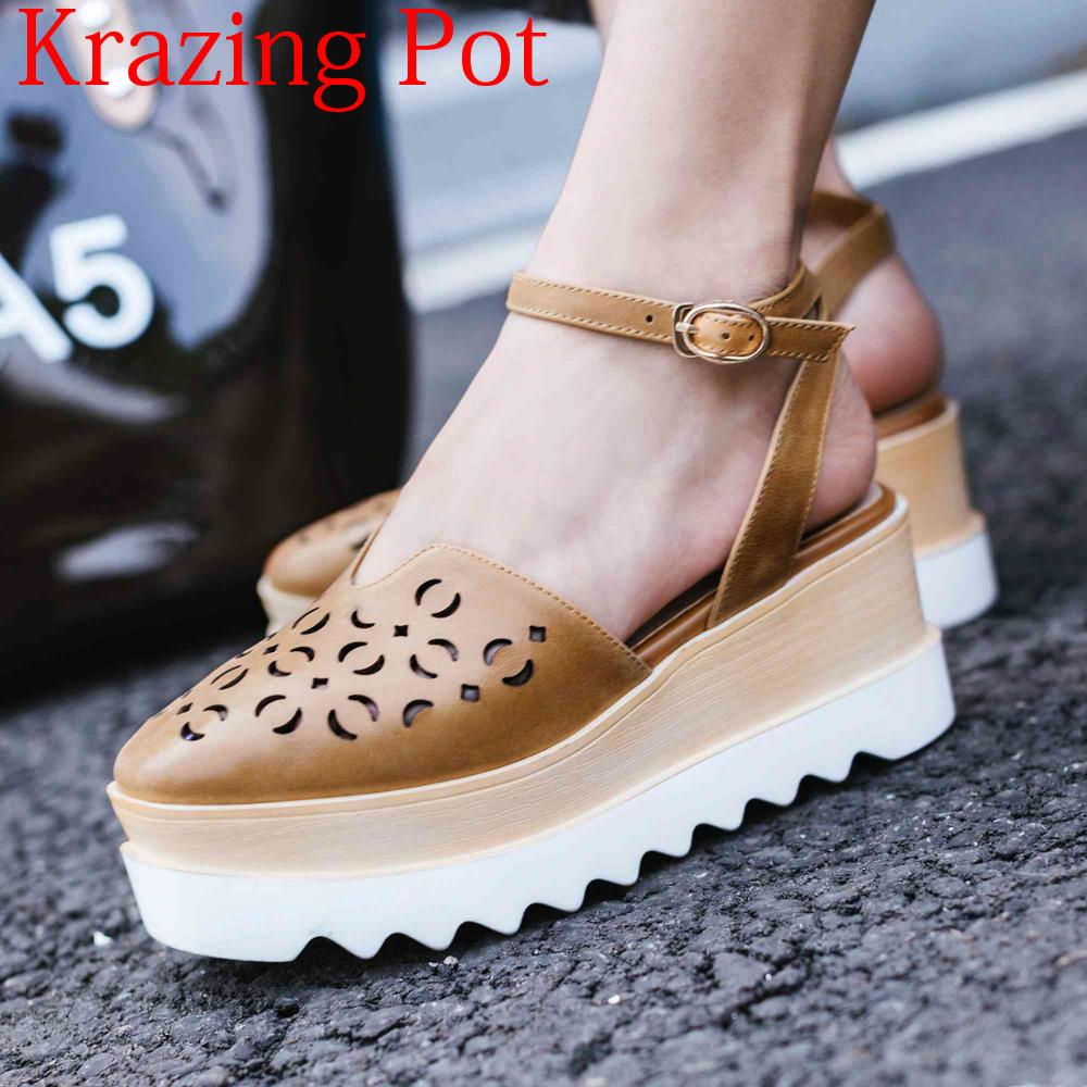 2019 Genuine Leather Buckle Straps Hollow Decoration Thick Bottom High Heels Summer Office Lady Platform Sexy