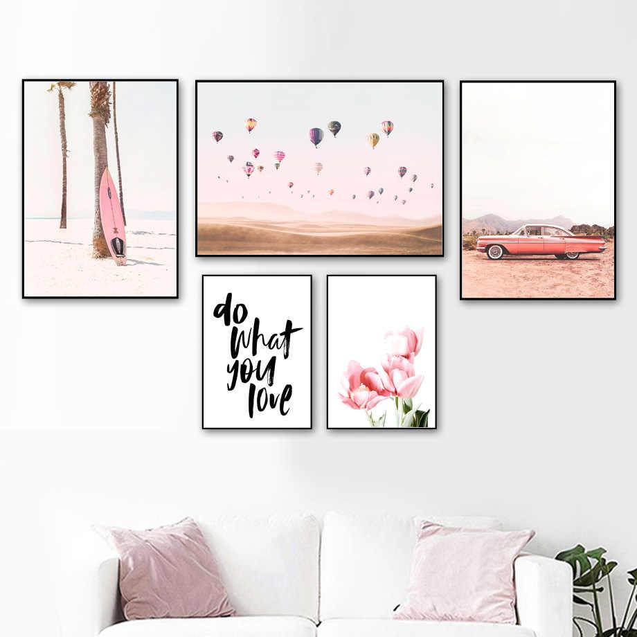 Ballon de feu de voiture de plage rose tulipe Art mural peinture sur toile affiches nordiques et impressions photos murales pour décor de salon
