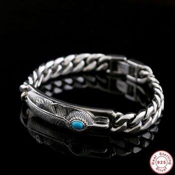 2019 New 925 Sterling Silver Fashion Zircon Stone Feather Bracelet Bangle Men's Women's Vintage Punk Rock Handmade Mens Jewelry