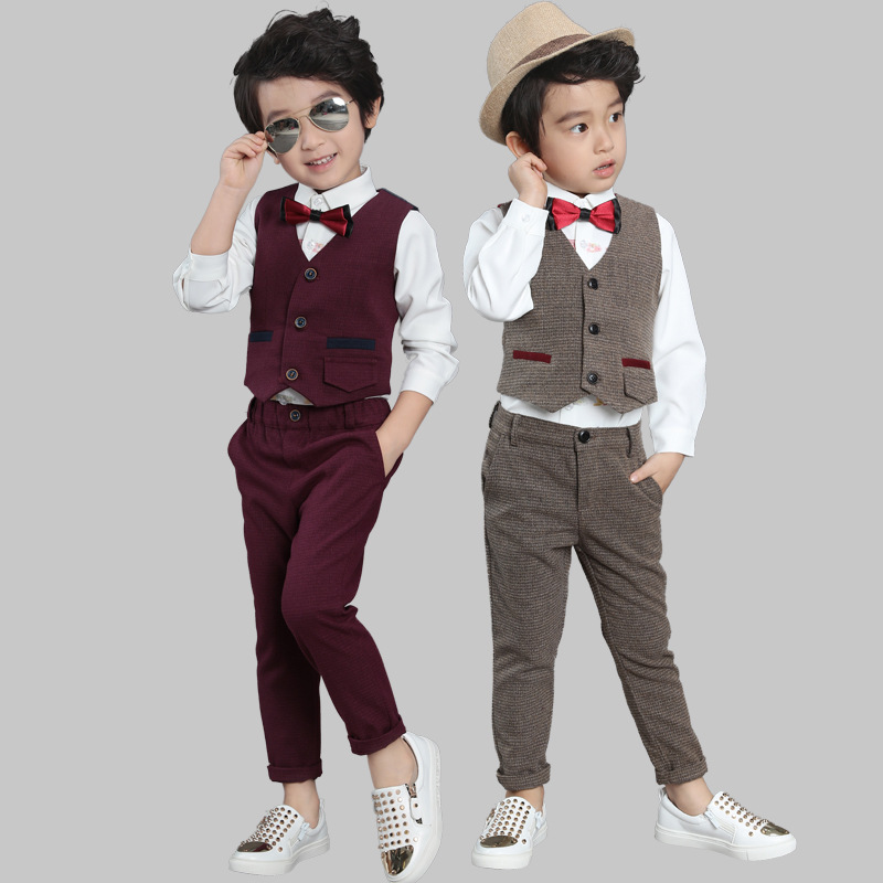 3pieces set autumn 2017 children's leisure clothing sets kids baby boy suit vest gentleman clothes for weddings formal clothing wedding suits for baby boys 3pcs set autumn 2017 new children s leisure clothing sets kids baby boy suit vest gentleman clothes