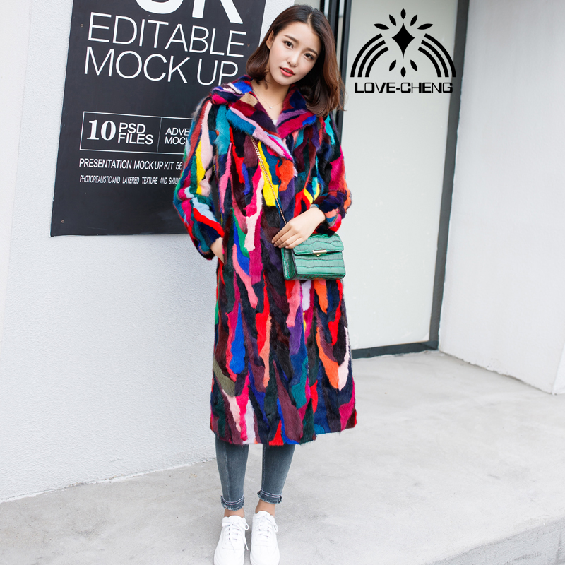 New genuine real natural mink fur coat women x-long multi-color jacket ladies colorful long outwear overcoat custom any size