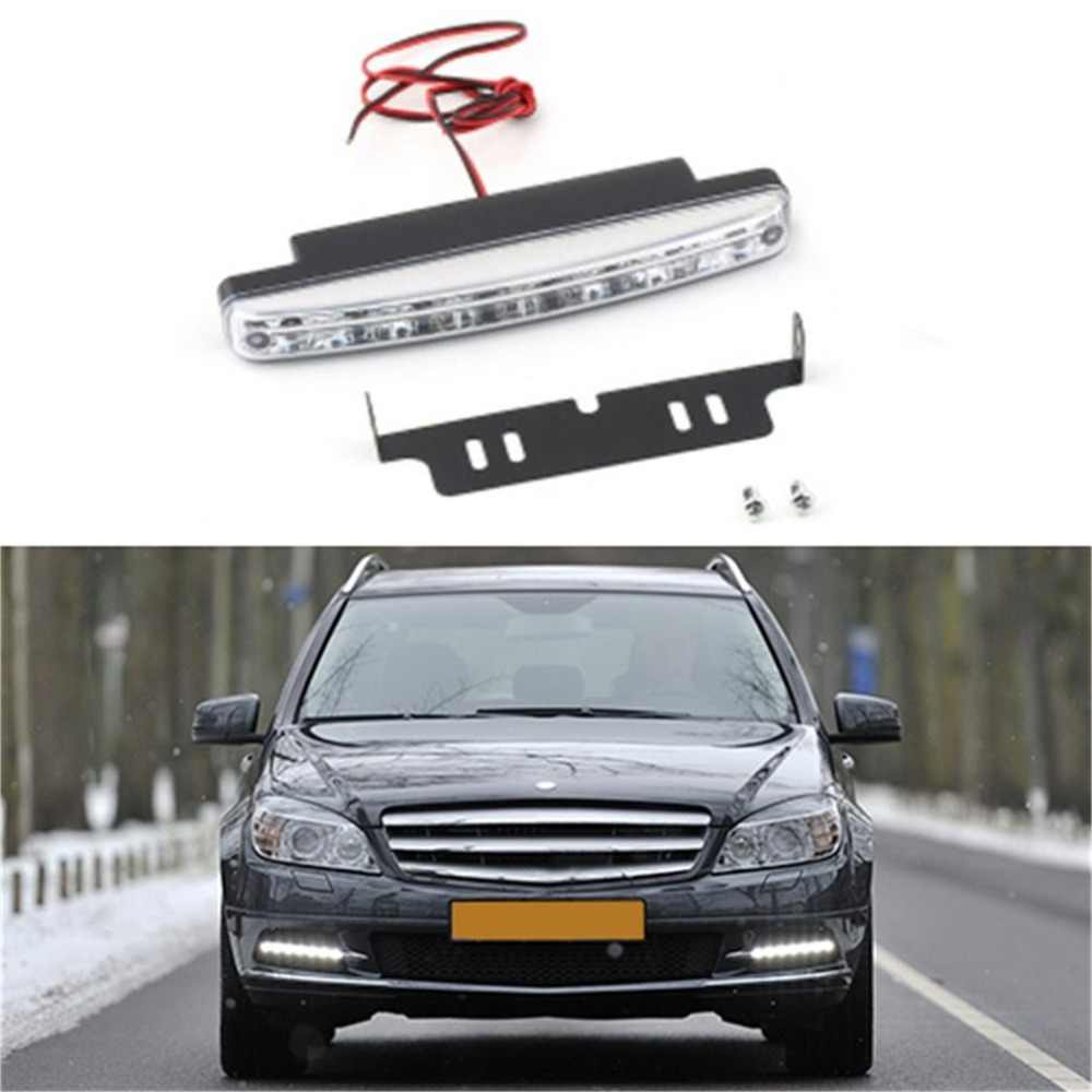 1PCS Universal 12V 8LED Car Daytime Running Light Fog Lamp Car Driving Light Super Bright White Light Durable Auxiliary Lamp