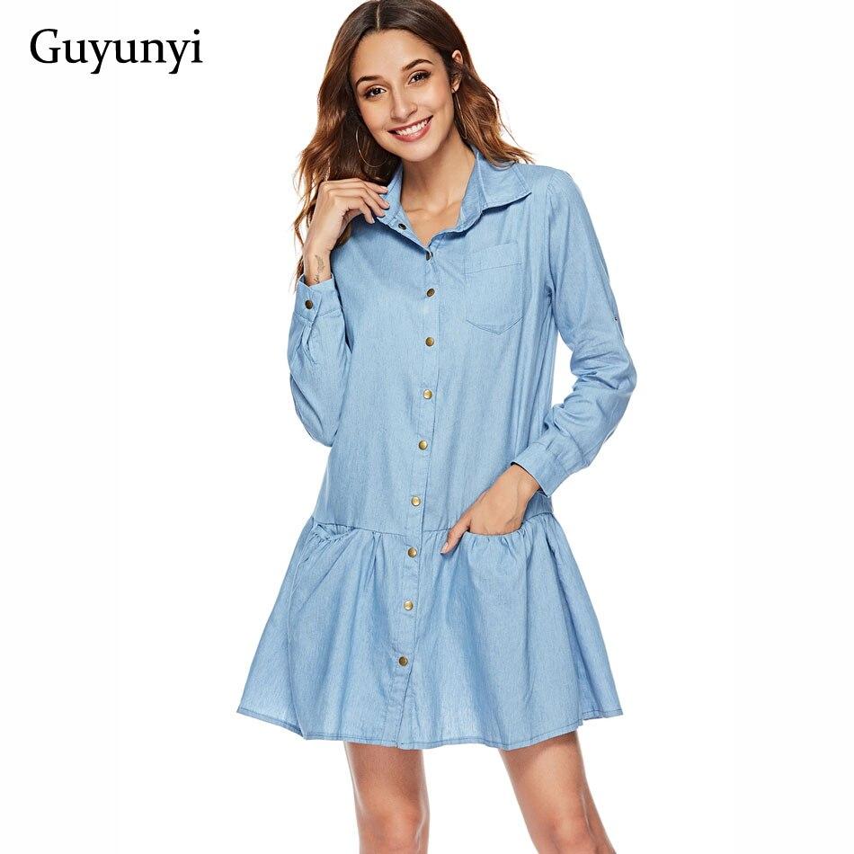 Amicable Guyunyi Women Casual Denim Dresses Pockets Elegant Cowboy Fashion Women Feminino Lady Slim Shirt Dress Jeans Cx1183 Mild And Mellow Women's Clothing