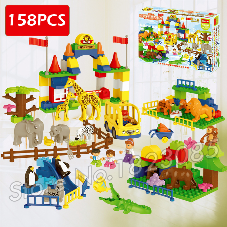 ФОТО 158pcs New Big Zoo My First Animals Creative Big Size Model Building Bricks Toys Compatible With lego Duplo