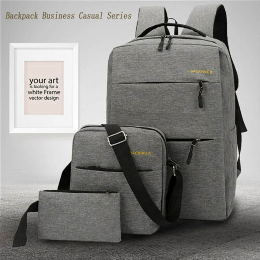 3Pcs/Set Women Men Casual Anti Theft Backpack USB Port Water Repellent Charging Travel Laptop School Bag Large Capacity 2019 New