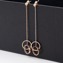 2018 Fashion Stainless Steel Love Long Chain Double Round Circle Drop Earring Rose Gold Color Women Party Wedding Gift