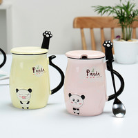 Schoolgirl Ceramic Personality Cup Panda Cartoon Mug Lovers Home Office Drinkware Unique Gift Coffee Cup with Lid and Spoon