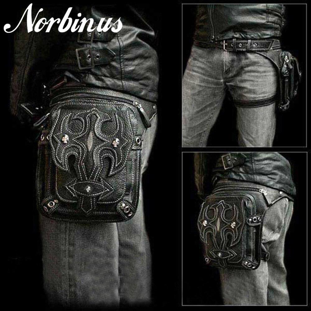 Norbinus Men Skull Messenger Shoulder Bags Leather Waist Leg Drop Bag Punk Rock Motorcycle Thigh Hip Belt Bags Male Purse Pouch цена 2017
