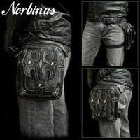 Norbinus Men Skull Messenger Shoulder Bags Leather Waist Leg Drop Bag Punk Rock Motorcycle Thigh Hip Belt Bags Male Purse Pouch