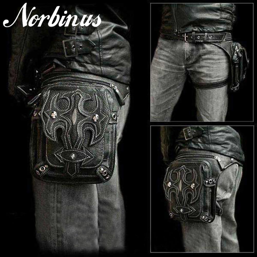 Norbinus homens crânio mensageiro sacos de ombro couro cintura perna gota saco punk rock motocicleta coxa quadril cinto sacos masculino bolsa