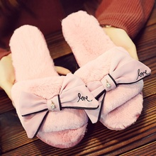 fashion slippers fur flip flops sweet lace bow slides women designer winter sandals warm and cozy home with bowknot