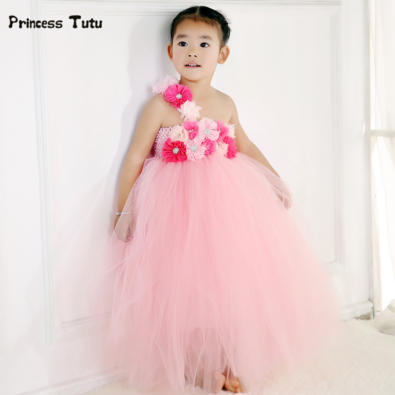 New Lovely Pink Tulle Tutu Flower Girl Dress Princess Costume Kid Party Pageant Wedding Bridesmaid Tutu Dresses Sleeveless Gown