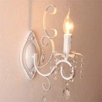 Lâmpada de parede retrô para quarto  luminária preta e branca para parede de ferro com cristal para decoração