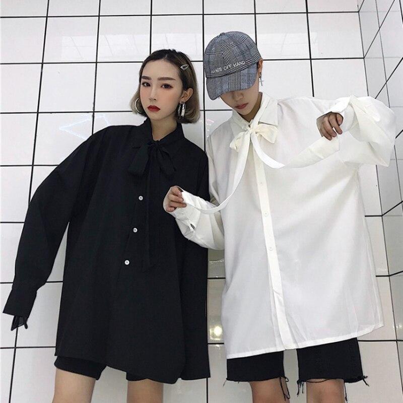 2019 printemps Vintage femmes arc à manches longues chemises lâche solide abricot blanc bleu noir chemise mode tous Match hauts Blouse M L XL