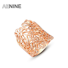 AENINE Rose Gold Color Hollow Out Rose Flower Rings For Women/Girls Party Wedding Engagement Rings Jewelry L2010454290