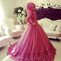 Arabic Muslim Wedding Dress 2016 Turkish Gelinlik Lace Appliques Ball Gown Islamic Bridal Dresses Hijab Long Sleeve Wedding Gown