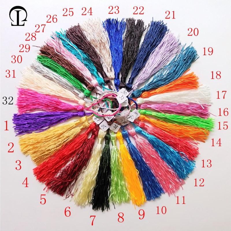 100 unids / lote 32 colores flecos borla de seda pompom borlas - Artes, artesanía y costura