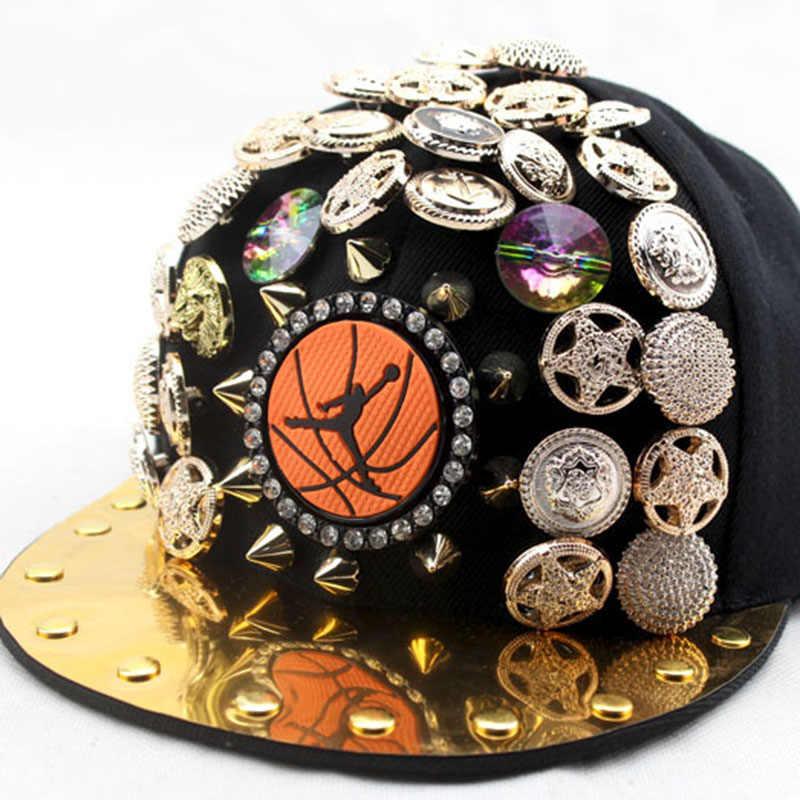 460d95768f1 ... New Punk Flat Along Hip Hop Caps For Children Boy Girl Jordan  Basketball Skull Pentagram Rivet ...