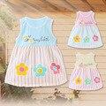 0-2 años de verano nuevo kids niña de algodón sin mangas de impresión salvaje de la moda de la raya dress cute baby princess dress niño ropa