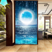 PSHINY 5D DIY Diamond embroidery sale Moon Meteor Seascape Landscape Full Square rhinestone Painting cross stich
