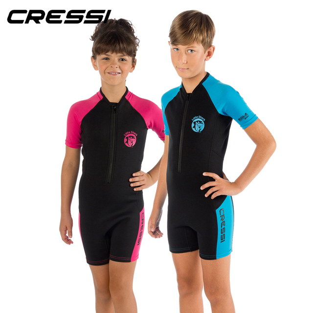 4531c7f0ab Cressi LITTLE SHARK 2mm Shorty Wetsuit Children Boys Girls Keep Warm  Neoprene Snorkeling Swimming Suit for
