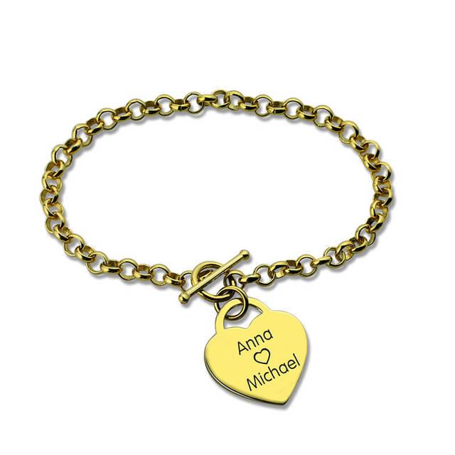 Personalizado Placa de Identificação Pulseira de Ouro Coração Pulseira Nome Gravado O Meu Coração com Você Charm Bracelet Amor Jóias