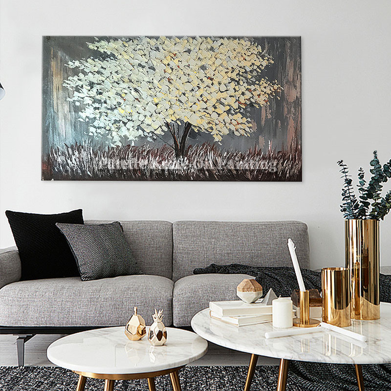 Painting of Modern Hand Painted palette knife 3D texture Flower Tree - Home Decor - Photo 3