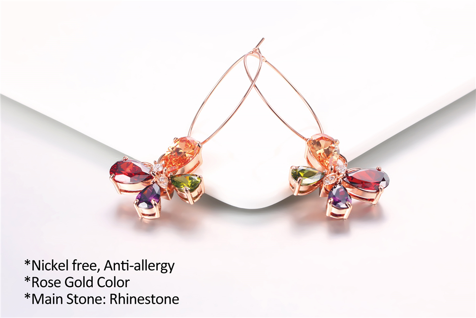 d PISSENLIT Clover Shape Drop Earrings Colorful Rhinestone Earrings Women Jewelry 2019 New Fashion Grace Summer Jewelry For Beach