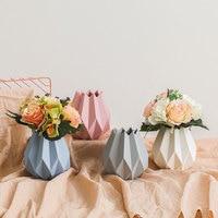 Nordic Modern Ceramic Vase Macaron Origami White Pink Light Gray Light Blue Vases Home Wedding Bedroom Living Room Decoration