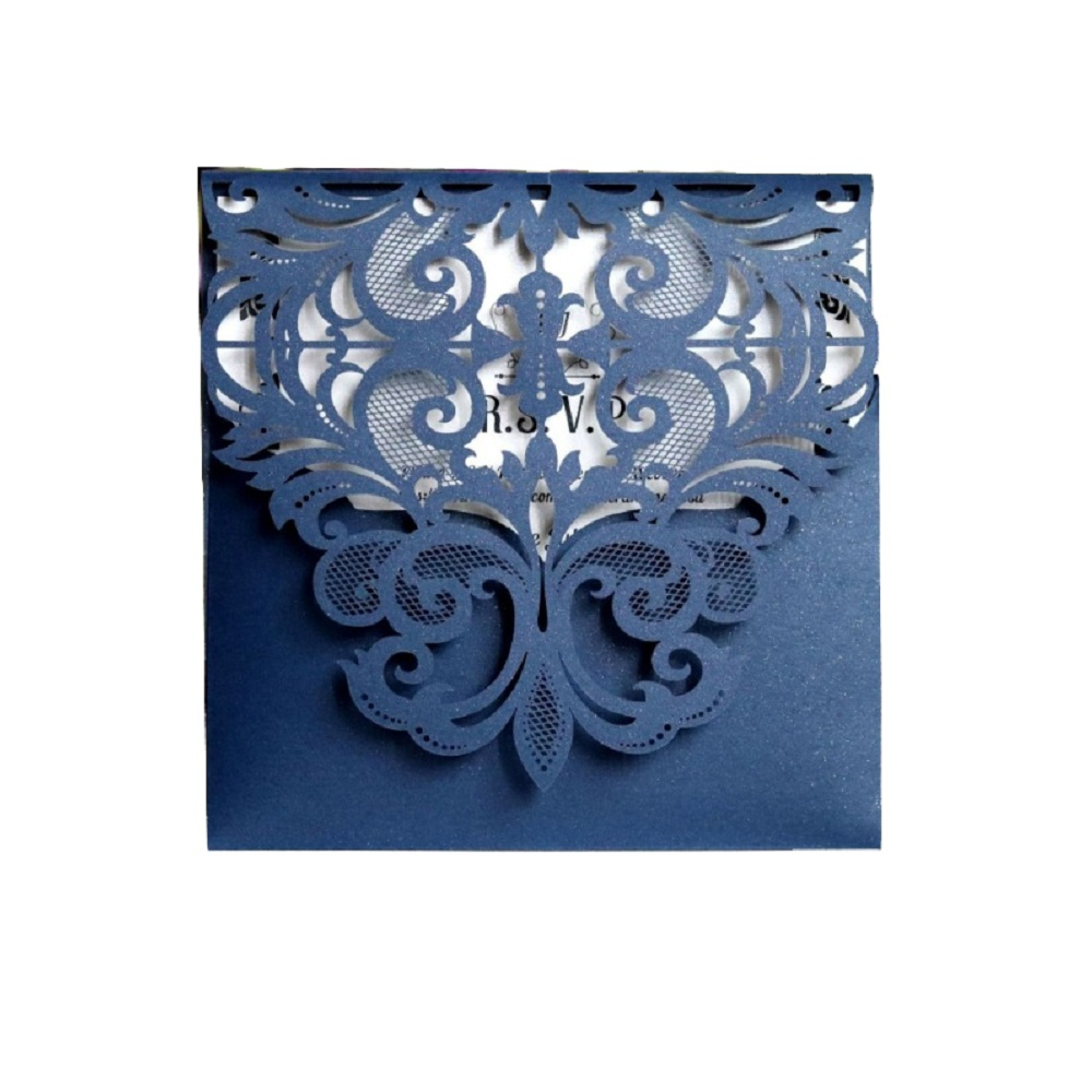 50pcs European Style Lace Wedding Invitations Cards Blue Color Laser Greeting Card Wedding Engagement Party Supplies