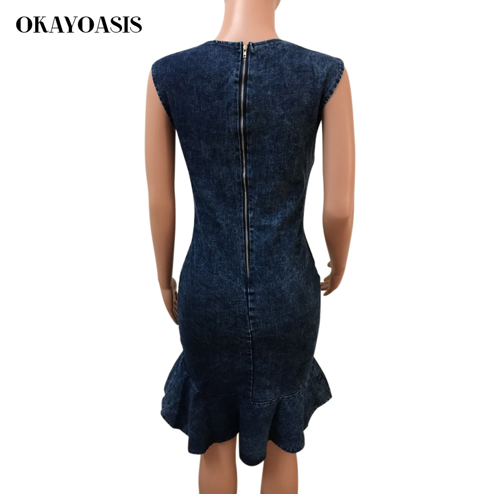 fc86f5b282 OKAYOASIS Jean Sexy volantes vestido tubo Mujer Partido Azul vestido de cuello  redondo Bodycon Chic volver cremallera vestido de mezclilla verano en ...