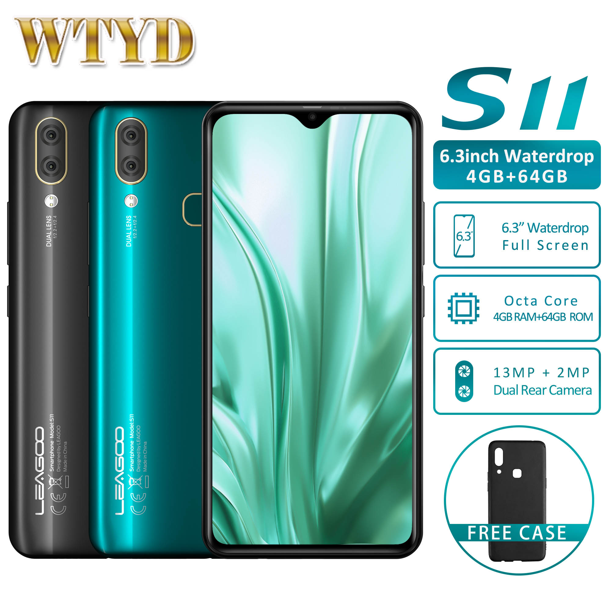 "LEAGOO S11 4GB RAM 64GB ROM Octa Core Android 9.0 4G Mobile Phone 6.3"" Waterdrop Screen 13MP 3300mAh Fingerprint Smartphone-in Cellphones from Cellphones & Telecommunications    1"