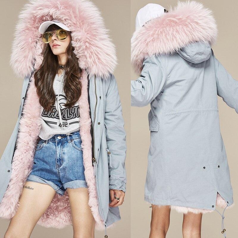 New 2017 Winter High Fashion Women's Lambskin Lamb Fur Lining Parka Midi Real Raccoon Fur Hooded Christmas Coat Outwear Jacket winter wimmelbuch midi ausgabe