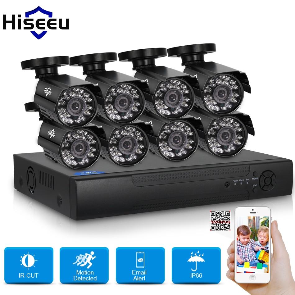 Hiseeu 8CH CCTV KIT System HD 1200TVL=720P IR Bullet Outdoor CCTV Surveillance Home AHD Camera Security System HDMI 1080N VGA