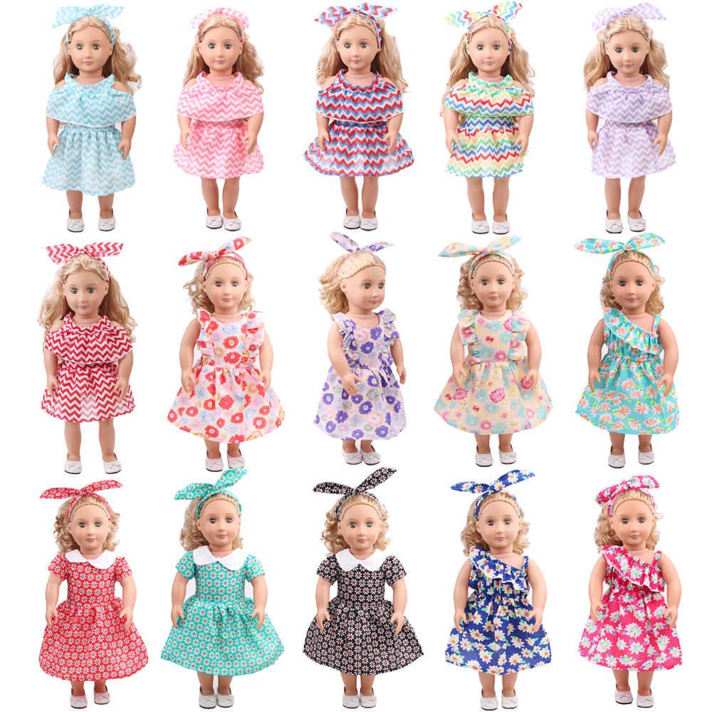 18 дюймов, с круглым вырезом, для девочек летнее платье с принтом для девочек + повязка на голову, американский юбка для новорожденных детские игрушки подходит 43 см для ухода за ребенком для мам, детские куклы, c528-c529