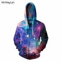 Hipster 3D Print Bright Galaxy Space Bling Zipper Hoodies Men/Women Fashion Streetwear Hat Sweatshirts Boys Autumn Jacket Outfit