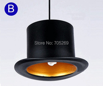 Design 110v 220v E27 lamp holder Jeeves & Wooster Top Hat Pendant Lights aluminum hat light for home Outside Black Inside Golden image