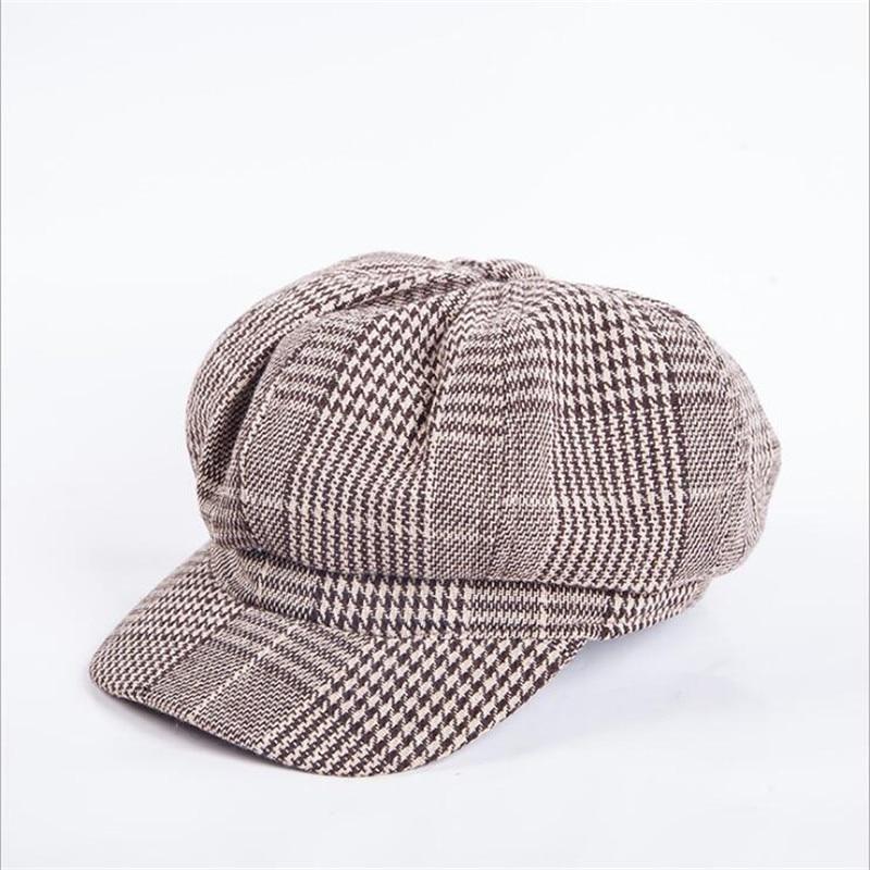 Female Newsboy Cap Autumn Winter Black White Felt Hat -9168