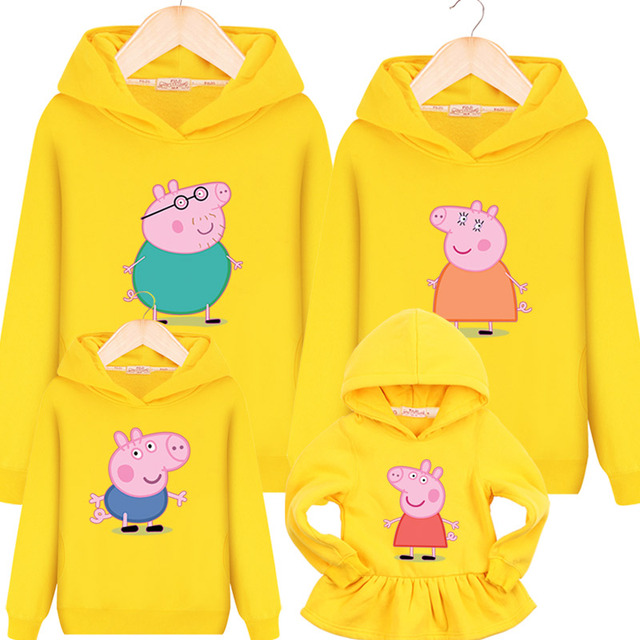Fashion autumn family sets clothing Spring and autumn pink cartoon pig hooded pullover hoodies sweatshirt