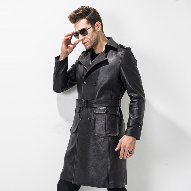 Men's Leather Trench Coat Mens Belted Long Cow Leather