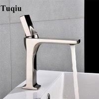 Bathroom Faucet Nickel Single Handle Hot Cold Switch Water Mixer Taps Wash Basin Bathroom Deck Mounted Basin Faucet