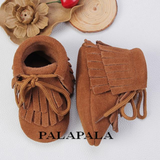 2017 double fringe lace up zapatos de bebé de cuero genuino mocasín zapatos chaussure calzado antideslizante suave del bebé recién nacido niños niñas botas