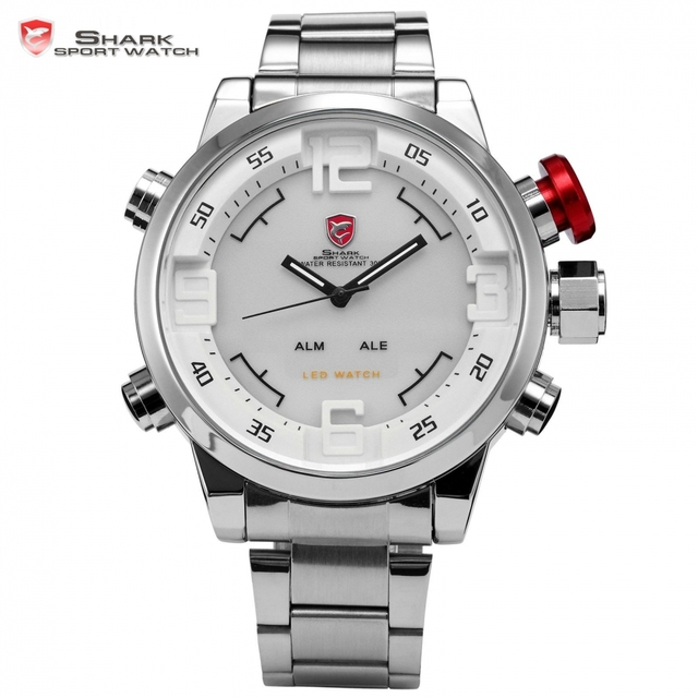 182ccb7f10c7 Gulper shark sport reloj inoxidable acero lleno de plata japón movimiento  dual time fecha de alarma