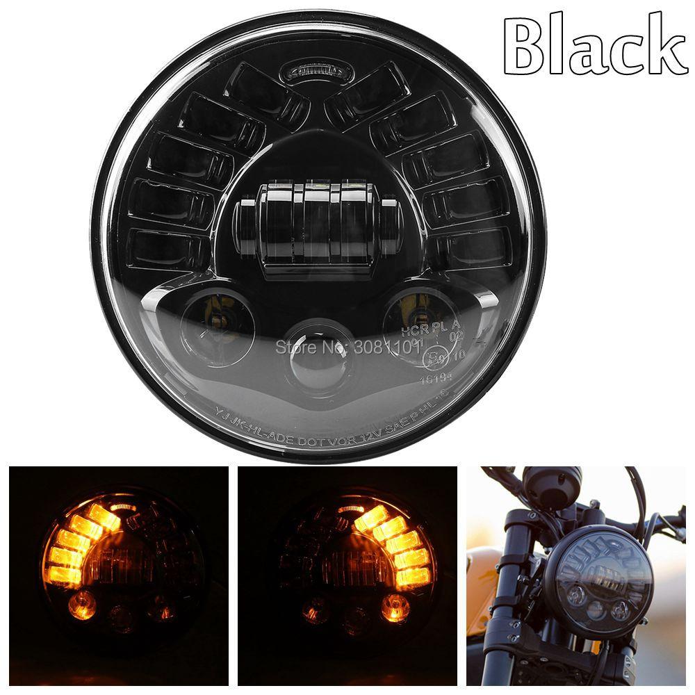 Новый 7-дюймовый Тип светодиодов Привет-Ло мотоцикл фара Daymaker черный проектор Белый DRL желтый сигнал поворота лампы для Harley и т. д.