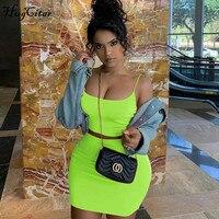 Hugcitar сексуальная юбка на тонких бретельках комплект из 2 предметов 2019 летняя женская модная неоновая зеленая оранжевая однотонная уличная ...
