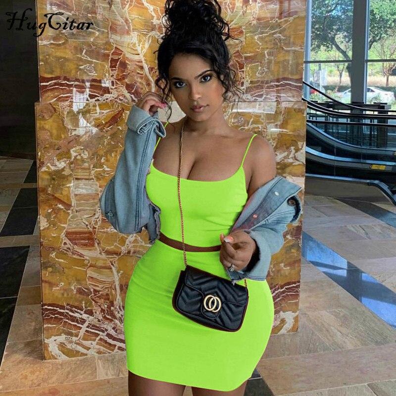 Hugcitar alças de espaguete sexy camis saia 2 duas peças conjunto 2019 verão moda feminina néon verde laranja sólida festa streetwear