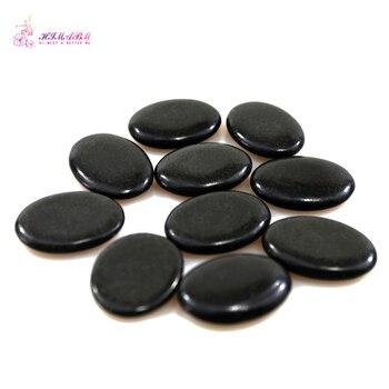 HIMABM 4*3*0.8cm 10PCS/ Pack Natrual Hot Spa Black Basalt Stone Massage Essential Oil Massage Stone Volcanic Energy Lava SPA недорого